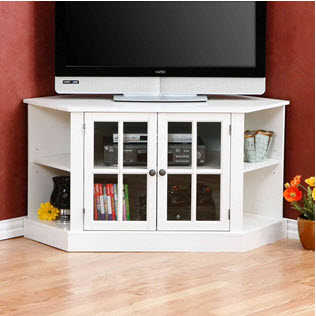 white corner tv stand bright and a great space saver - White Corner Tv Stands